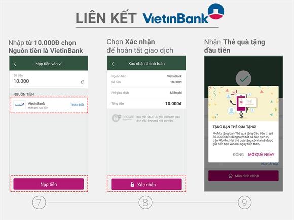 Các bước thực hiện liên kết momo với vietinbank