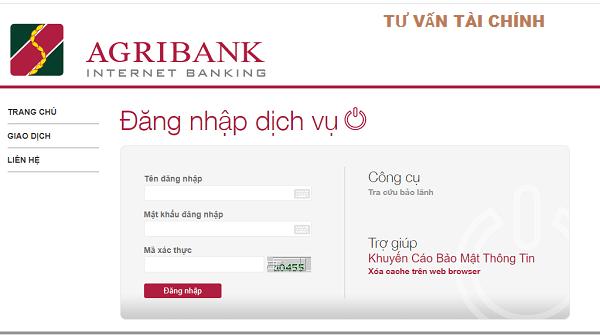Kiểm tra số tài khoản Agribank qua mạng Internet